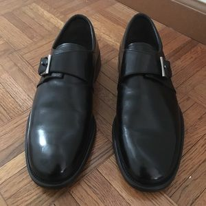 "Mezlan ""Sutri"" Black Leather Monk Strap Loafers"